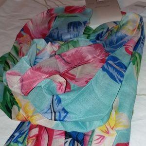 Big buddha blue multicolored floral infinity scarf